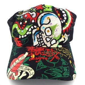 ED HARDY Love Kills Slowly Skull   Crystal Cap Hat 7d61c94a63f5